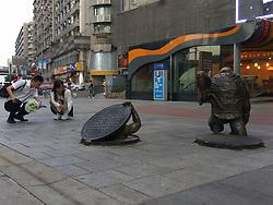 September 7, 2017 - Chongqing, Chongqing, China - Chongqing, CHINA-7th September 2017: (EDITORIAL USE ONLY. CHINA OUT)..Statues of teenage mutant ninja turtles can be seen on street in southwest China's Chongqing. (Credit Image: © SIPA Asia via ZUMA Wire)