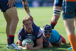 March 17, 2018 - Sydney, NSW, U.S. - SYDNEY, NSW - MARCH 18: Rebels player Reece Hodge (12) has his try disallowed at round 5 of the Super Rugby between Waratahs and Rebels at Allianz Stadium in Sydney on March 18, 2018. (Photo by Speed Media/Icon Sportswire) (Credit Image: © Speed Media/Icon SMI via ZUMA Press)