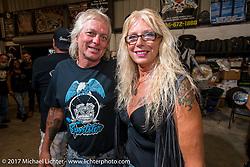 Lynn and Jack Deagazio at Bill Dodge's Blings Cycle shop during Biketoberfest. Daytona Beach, FL, USA. Friday October 20, 2017. Photography ©2017 Michael Lichter.
