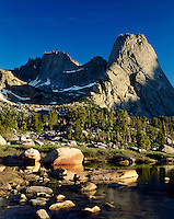 Wolfs Head Peak (left) and Pingora Peak (right), Cirque of the Towers Popo Agie Wilderness Wind River Range Wyoming USA