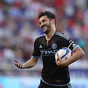 David Villa, NYCFC, reacts during the New York Red Bulls Vs NYCFC, MLS regular season match at Red Bull Arena, Harrison, New Jersey. USA. 10th May 2015. Photo Tim Clayton