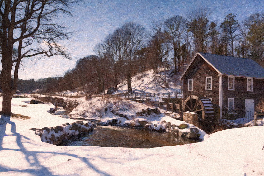 An artistic rendering of the Stony Brook Mill in winter.