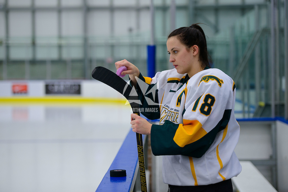 5th year forward Meghan Sherven (18) of the Regina Cougars in action during the Women's Hockey Home Game on November 25 at Co-operators arena. Credit: Arthur Ward/Arthur Images