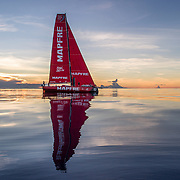 Leg 4, Melbourne to Hong Kong, day 08 on board MAPFRE, Sunset without wind, flying low. Photo by Ugo Fonolla/Volvo Ocean Race. 09 January, 2018.