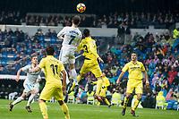 Real Madrid Cristiano Ronaldo and Lucas Vazquez and Villarreal Jaume Costa and Alvaro Gonzalez during La Liga match between Real Madrid and Villarreal CF at Santiago Bernabeu in Madrid, Spain. January 13, 2018. (ALTERPHOTOS/Borja B.Hojas)