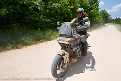 Danger Dan Hardick riding his 1-week old Harley-Davidson Pan-America on the beautiful roads near the Tennessee Motorcycles and Music Revival. Hurricane Mills, TN, USA. May 23, 2021. Photography ©2021 Michael Lichter.
