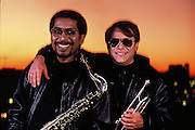 March, 1992 -  The Memphis Horns celebrated 25 years together in 1992 with a concert in the Pyramid which was attended by many of the artists they had played with. Trumpeter Wayne Jackson (rt) and his musical partner, saxophonist Andrew Love, make up one of the most sought after horn sections in the world.