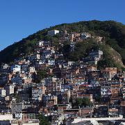 The favela Morro dos Cabritos just behind Copacabana beach, Rio de Janeiro,  Brazil. 19th July 2010. Photo Tim Clayton..