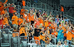 Supporters of Netherlands during basketball match between Slovenia vs Netherlands at Day 4 in Group C of FIBA Europe Eurobasket 2015, on September 8, 2015, in Arena Zagreb, Croatia. Photo by Vid Ponikvar / Sportida