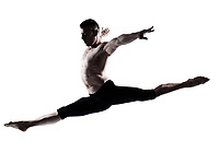 one caucasian modern ballet dancer dancing gymnastic acrobatic jumping bend posture studio isolated  on white background