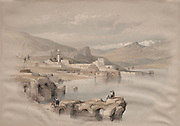 Tiberias, from the Walls, Safet in the Distance Color lithograph by David Roberts (1796-1864). An engraving reprint by Louis Haghe was published in a the book 'The Holy Land, Syria, Idumea, Arabia, Egypt and Nubia. in 1855 by D. Appleton & Co., 346 & 348 Broadway in New York.