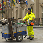 Street cleaner in Trafalgar Square, London