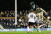 Leeds United's Sam Byram scores his sides first goal  <br /> <br /> Photographer Craig Mercer/CameraSport<br /> <br /> Football - The Football League Sky Bet Championship - Fulham v Leeds United - Wednesday 18th March 2015 - Craven Cottage - London<br /> <br /> © CameraSport - 43 Linden Ave. Countesthorpe. Leicester. England. LE8 5PG - Tel: +44 (0) 116 277 4147 - admin@camerasport.com - www.camerasport.com