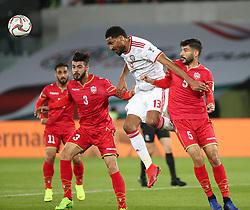 ABU DHABI, Jan. 6, 2019  Khamis Esmaeel Zayed (2nd R) of the United Arab Emirates heads the ball against Bahrain's Hamad Mahmood Alshamsan (R).    during the opening match of the AFC Asian Cup UAE 2019 in Abu Dhabi, the United Arab Emirates (UAE), on Jan. 5, 2019. The match ended in a 1-1 draw. (Credit Image: © Lg/Xinhua via ZUMA Wire)