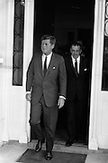 President Kennedy leaving the U.S. Emabssy in Dublin after talks with An Taoiseach Seán Lemass.  The President then left for a visit to his ancestral home in Wexford..27.06.1963