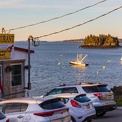 A restaurant on the harbor in Lubec, Maine.