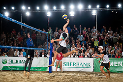 Tadej Bozenk and Danijel Pokersnik during Final of Beach Volleyball Slovenian National Championship 2018, on July 21, 2018 in Kranj, Slovenia. Photo by Urban Urbanc / Sportida