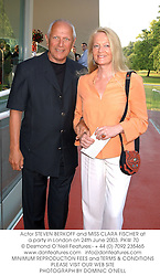 Actor STEVEN BERKOFF and MISS CLARA FISCHER at a party in London on 24th June 2003.PKW 70