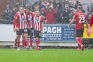 Lincoln City attacker Jack Payne (10) celebrating after scoring goal to make it 0-1 during the EFL Sky Bet League 1 match between AFC Wimbledon and Lincoln City at the Cherry Red Records Stadium, Kingston, England on 2 November 2019.