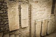 Stone tablets, Mont Saint-Michel, Normandy, France