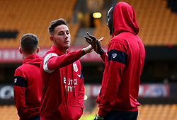 Josh Brownhill of Bristol City and Famara Diedhiou of Bristol City arrive at Molineux for the Sky Bet Championship fixture with Wolverhampton Wanderers - Mandatory by-line: Robbie Stephenson/JMP - 12/09/2017 - FOOTBALL - Molineux - Wolverhampton, England - Wolverhampton Wanderers v Bristol City - Sky Bet Championship