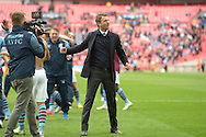 Tim Sherwood, the Aston Villa manager celebrates towards the Aston Villa fans after the final whistle as he books his team into the FA Cup Final. The FA Cup, semi final match, Aston Villa v Liverpool at Wembley Stadium in London on Sunday 19th April 2015.<br /> pic by John Patrick Fletcher, Andrew Orchard sports photography.