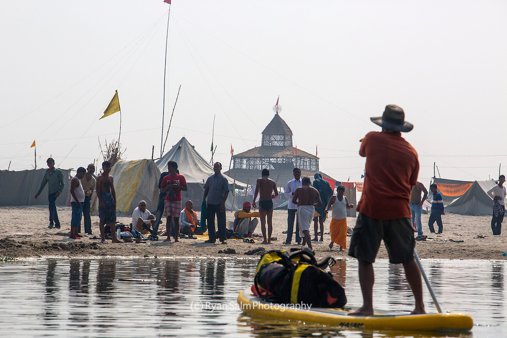 """On Day 3 of our journey we came across the """"mini"""" Mela. A small version of the Kumbh along the banks of the Ganga. Needless to say, we pulled in for a closer look."""