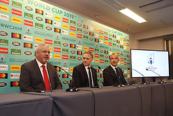 KYOTO, JAPAN - MAY 10: (L-R) Warren Gatland, Head Coach of Wales, Joe Schmidt, Head Coach of Ireland and Conor O'Shea, Head Coach of Italy speak to the media during the Rugby World Cup 2019 Pool Draw at the Kyoto State Guest House on May 10, in Kyoto, Japan. Photo by Dave Rogers - World Rugby/PARSPIX/ABACAPRESS.COM