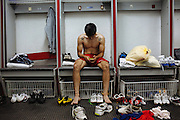 A soccer player of Toros Neza team into the locker room after finishing the training. Toros Neza team is a professional soccer team that plays in the first division of Mexican soccer in Ciudad Nezahualcoyotl, March 30, 2011.
