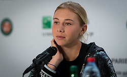 May 30, 2019 - Paris, FRANCE - Amanda Anisimova of the United States talks to the media after winning her second-round match at the 2019 Roland Garros Grand Slam tennis tournament (Credit Image: © AFP7 via ZUMA Wire)