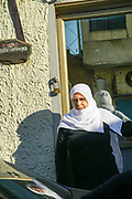 A Druze woman in traditional dress in Isfiya (also known as Ussefiya) a Druze village and local council Located on Mount Carmel, Israel