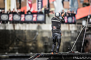 Image licensed to Lloyd Images.<br /> The Extreme Sailing Series 2015. Act 4 - Cardiff. UK<br /> Red Bull Sailing Team skippered by Hans Peter Steinacher (AUT) and crewed by Jason Waterhouse (AUS), Josh McKnight (AUS), Stewart Dodson (NZL) and Shaun Mason (GBR).<br /> Credit: Lloyd Images