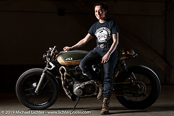 "J Shia with her custom called ""The Manipulated"", a custom BSA A65 cafe racer that she built with Mike Ulman at J's Madhouse Motors in Boston. Shown here at the Handbuilt Show. Austin, TX. USA. Friday April 20, 2018. Photography ©2018 Michael Lichter."