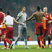 Galatasaray's players celebrate victory during their Turkish superleague soccer derby match Galatasaray between Trabzonspor at the AliSamiYen spor kompleksi TT Arena in Istanbul Turkey on Sunday, 22 December 2013. Photo by TURKPIX