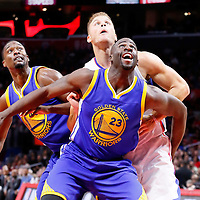 19 November 2015: Golden State Warriors forward Draymond Green (23) vies for the rebound with Los Angeles Clippers forward Blake Griffin (32) and Golden State Warriors forward Harrison Barnes (40) during the Golden State Warriors 124-117 victory over the Los Angeles Clippers, at the Staples Center, Los Angeles, California, USA.