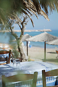Tree, tables and sunshades at sandy beach, Chios town, Chios, Greece
