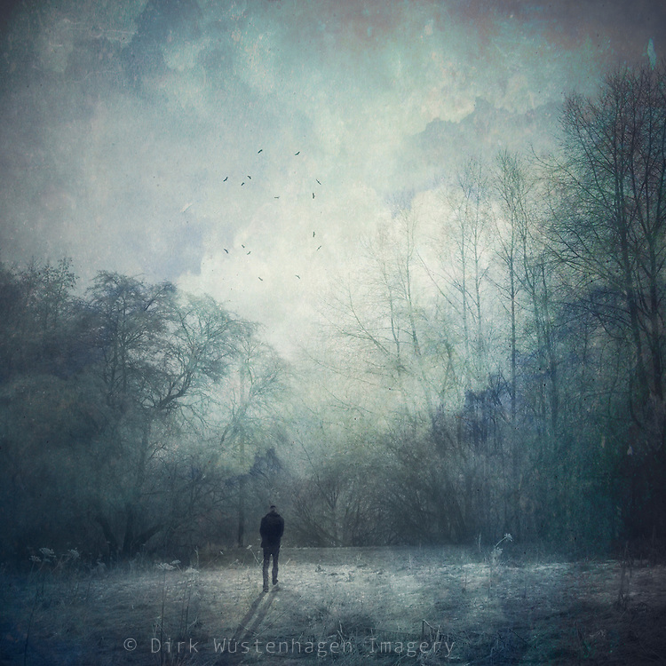 moody landscape with a wanderer in backlight