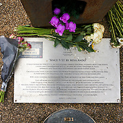 2021-09-20 Stratford, London, UK. The 911 steel beam structure a Memorial In The Olympic Park. A memories of September 11, 2001 attack of 3,000 death flower laid to memories of September 11, 2001