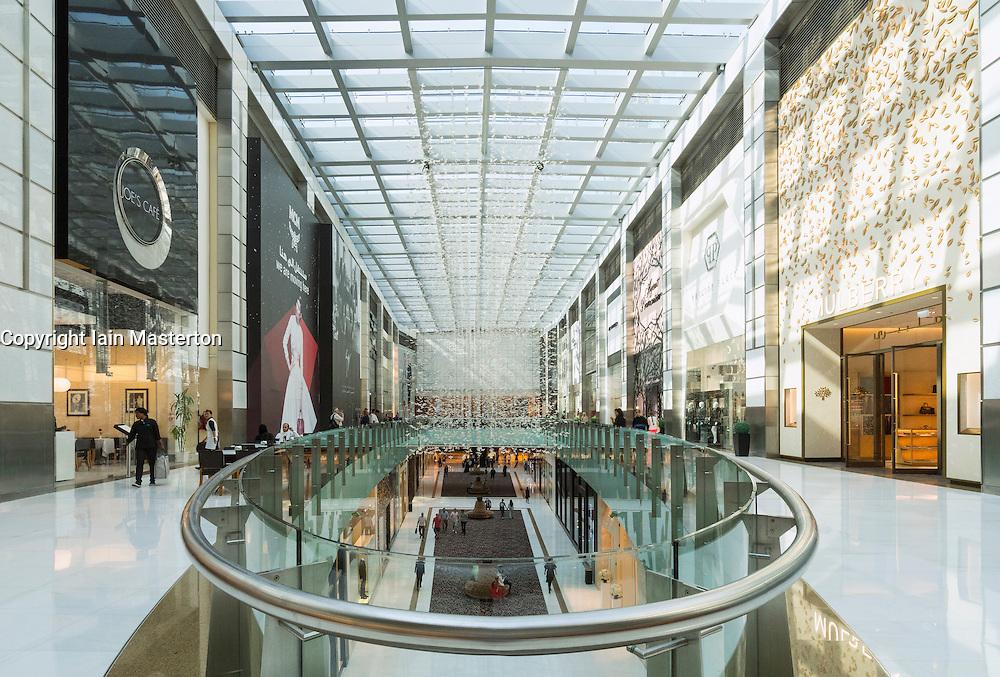 Interior of atrium at Fashion Avenue in Dubai United Arab Emirates