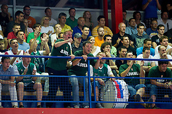 Fans of Slovenia during basketball match between National team of Slovenia and Italy in First Round of U20 Men European Championship Slovenia 2012, on July 12, 2012 in Domzale, Slovenia.  Slovenia defeated Italy 81-68. (Photo by Vid Ponikvar / Sportida.com)
