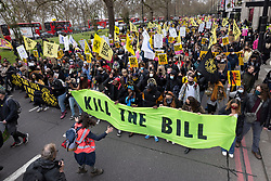 © Licensed to London News Pictures. 03/04/2021. London, UK. Protesters march along Park Lane in central London during a 'Kill the Bill' demonstration and rally. A coalition of groups including Extinction Rebellion, Kill the Bill & Black Lives Matter are coming together over the Easter weekend to campaign against the proposed Police, Crime, Sentencing and Courts Bill which will give police in England and Wales more power to impose conditions on non-violent protests. Photo credit: Peter Macdiarmid/LNP
