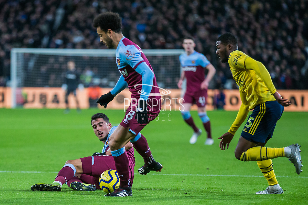 Felipe Anderson (West Ham) with the ball during the Premier League match between West Ham United and Arsenal at the London Stadium, London, England on 9 December 2019.