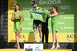 July 25, 2018 - Saint-Lary-Soulan, FRANCE - Slovak Peter Sagan of Bora-Hansgrohe, wearing the green jersey of the points leader and with a bandaged leg after falling,  celebrates on the podium after the 17th stage of the 105th edition of the Tour de France cycling race, from Bagneres-de-Luchon to Saint-Lary-Soulan (65 km), France, Wednesday 25 July 2018. This year's Tour de France takes place from July 7th to July 29th. BELGA PHOTO YORICK JANSENS (Credit Image: © Yorick Jansens/Belga via ZUMA Press)