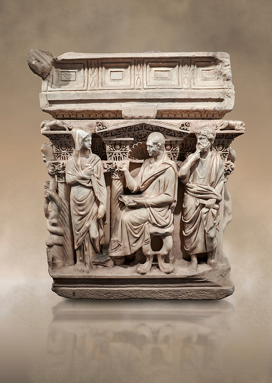 """End panel of a Roman relief sculpted Hercules sarcophagus with kline couch lid, """"Columned Sarcophagi of Asia Minor"""" style typical of Sidamara, 250-260 AD, Konya Archaeological Museum, Turkey. Against a warm art background. .<br /> <br /> If you prefer to buy from our ALAMY STOCK LIBRARY page at https://www.alamy.com/portfolio/paul-williams-funkystock/greco-roman-sculptures.html . Type -    Konya     - into LOWER SEARCH WITHIN GALLERY box - Refine search by adding a subject, place, background colour, museum etc.<br /> <br /> Visit our ROMAN WORLD PHOTO COLLECTIONS for more photos to download or buy as wall art prints https://funkystock.photoshelter.com/gallery-collection/The-Romans-Art-Artefacts-Antiquities-Historic-Sites-Pictures-Images/C0000r2uLJJo9_s0"""
