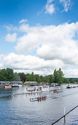 Henley-On-Thames, Berkshire, UK.,Sunday, 15.08.21,   Shiplake College, passing the the Progress board, Sculling Home to win the Diamond Jubilee Challenge Cup, 2021 Henley Royal Regatta, Henley Reach, River Thames, Thames Valley,  [Mandatory Credit © Peter Spurrier/Intersport Images], Finals' Day,