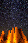 Stars over tufa formations at night, Mono Lake, Mono Basin National Scenic Area, California USA