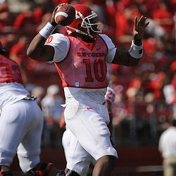 Apr 18, 2009; Piscataway, NJ, USA; Rutgers QB D.C. Jefferson (10) throws a pass during the second half of Rutgers' Scarlet and White spring football scrimmage.