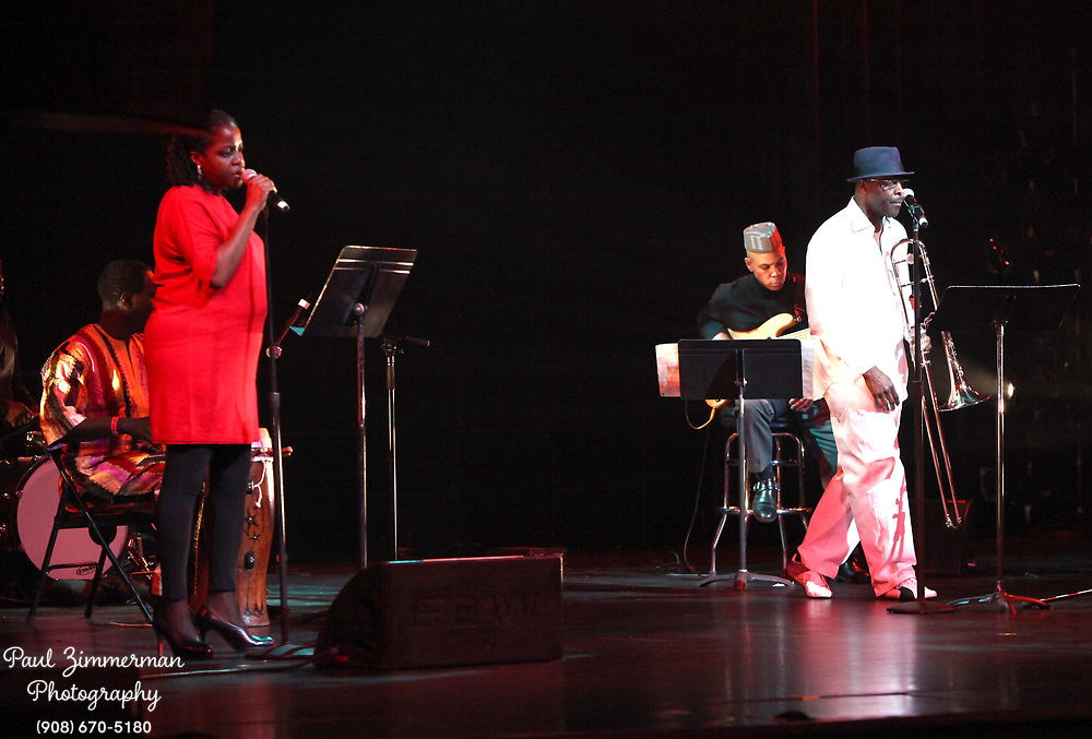 NEW YORK, NY - DECEMBER 30:  (L-R) Musician Carla Cook and Craig S. Harris of the band Tailgater's Tails perform at the 5th Annual Regeneration Night Kwanzaa Celebration at The Apollo Theater on December 30, 2011 in New York City.  (Photo by Paul Zimmerman/WireImage)