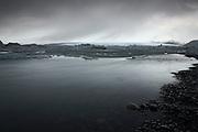 The lagoon at Jökulsárlón in South-East Iceland on a typically overcast day
