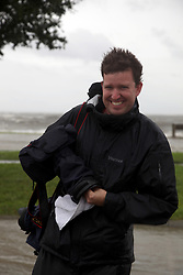 28 August 2012. New Orleans, Louisiana,  USA. <br /> Chris Graythen near Lake Pontchartrain as waves crashe against the sea wall. Hurricane Isaac spins in the Gulf just waiting to come ashore. The 7th year anniversary of Hurricane Katrina is tomorrow and with a storm lurking in the Gulf many in the city are on edge.<br /> Photo; Charlie Varley